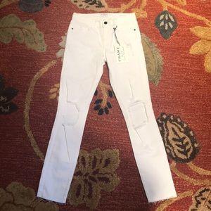 Frame Denim White Destroyed Crop Jeans